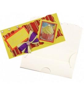 Открытка-конверт ручной работы поздравительная 80*160 мм, «С днем рождения!» (пирожное)