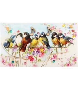 Открытка-конверт поздравительная 90*157 мм, «Птицы»