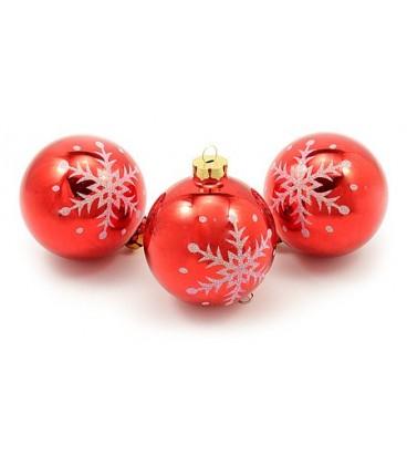 Набор шаров для елки блестящих с узором d-8 см, 3 шт., красные