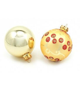 Набор шаров для елки (блестящий и матовый) d-8 см, 2 шт., золотистые (блестящий и матовый с узором)