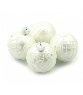 Набор шаров для елки d-6 см, 4 шт., серебристые с белым узором