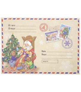 Новогоднее письмо-конверт «Феникс Презент» 29,5*21 см, «Деду Морозу с мишками»
