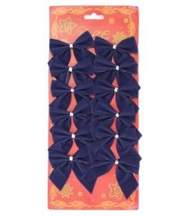 Украшение новогоднее «Банты» 12 шт., синие (ширина 5 см)