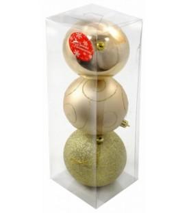 Набор шаров новогодних диаметр 10 см, 3 шт., «Алия» золотистый