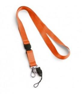 """Тесьма с карабином для бейджа с разъемом """"94403"""" с петлей, оранжевый"""