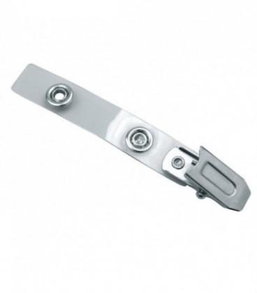 Клипса металлическая застежка-«крокодил» на силиконовом прозрачном ремешке с кнопкой СТ-210