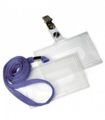 Бэйдж жесткий пластиковый конверт с горизонтальной загрузкой, размер 90*60 мм (размер документа 90*50 мм) длина шнурка 90 см.