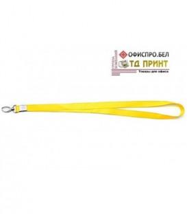Шнурок для бэйджа (тесьма) с карабином, желтый, ширина тесьмы 1,5 см, длина 48 см.