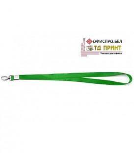 Шнурок для бэйджа (тесьма) с карабином, зеленый, ширина тесьмы 1,5 см, длина 48 см.