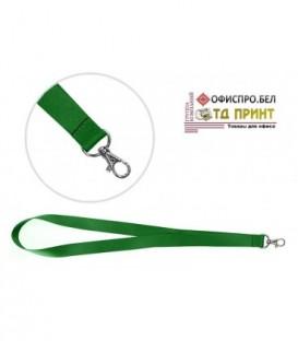 Шнурок для бэйджа (тесьма) с карабином, зеленый, ширина тесьмы 2 см, длина 45 см.