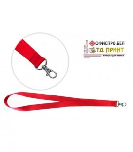 Шнурок для бэйджа (тесьма) с карабином, красный, ширина тесьмы 2 см, длина 45 см.