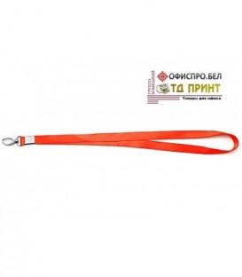 Шнурок для бэйджа (тесьма) с карабином, красный, ширина тесьмы 1,5 см, длина 48 см.