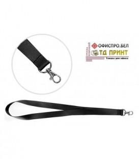 Шнурок для бэйджа (тесьма) с карабином, черный, ширина тесьмы 2 см, длина 45 см.