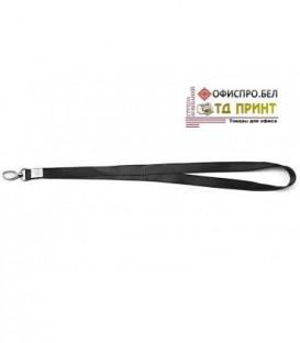 Шнурок для бэйджа (тесьма) с карабином, черный, ширина тесьмы 1,5 см, длина 48 см.
