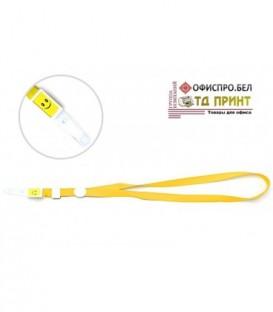 Шнурок для бэйджа (тесьма) с клипсой, желтый, ширина тесьмы 1,5 см, длина 44 см.