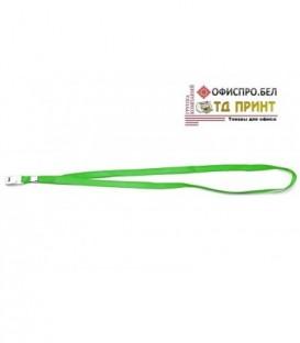 Шнурок для бэйджа (тесьма) с клипсой, зеленый, ширина тесьмы 1 см, длина 44 см.