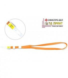 Шнурок для бэйджа (тесьма) с клипсой, оранжевый, ширина тесьмы 1,5 см, длина 44 см.