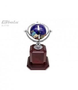 Глобус настольный d 07см, высота 14*14*27см, цвет синий, в металлической оправе серебристого цвета, на деревянной подставке