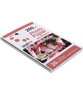 Бумага для струйной фотопечати полуглянцевая односторонняя Colortek А6 (100*150 мм), 260 г/м2, 20л.