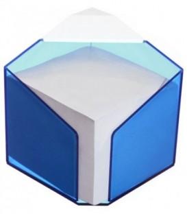 Бокс с бумагой для заметок «Статус» 90*90*70 мм, серая, бокс прозрачно-синий