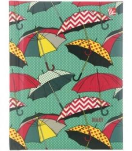 Ежедневник недатированный «Орнамент» 110*148 мм, 128 л., «Разноцветные зонтики»