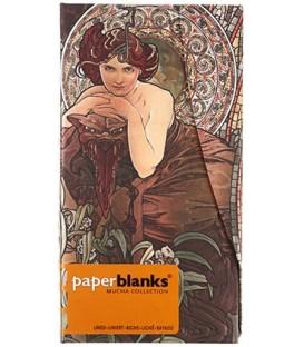 Книжка записная Paperblanks Mucha Collection 90*180 мм, 88 л., линия, «Изумруд»