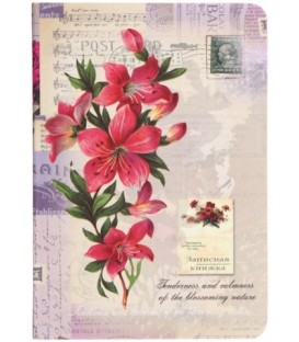 Книжка записная «Проф-пресс.Collezione» 120*170 мм, 80 л., клетка, «Розовые цветы и ноты»