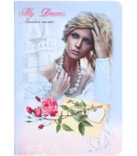 Книжка записная «Проф-пресс.Collezione» 120*170 мм, 80 л., клетка, «Девушка и роза»