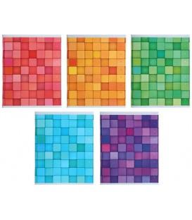 Тетрадь общая А5, 96 л. на скобе «Цветовые сочетания» 162*202 мм, клетка, ассорти (белизна бумаги менее 80%)