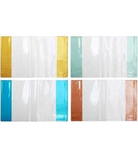 Обложка для тетрадей и дневников Panta Plast А5 (350*212 мм), толщина 120 мкм, прозрачная, цвет клапанов — ассорти