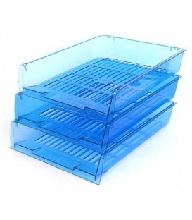 Набор из трех лотков горизонтальных «Престиж» 340*270*60 мм, прозрачно-синий