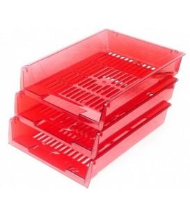 Набор из трех лотков горизонтальных «Престиж» 340*270*60 мм, прозрачно-красный