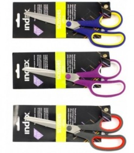 Ножницы канцелярские Index 215 мм, цвет ручек - ассорти (цена за 1 шт.)