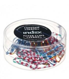 Скрепки «Зебра» Index 25 мм, 50 шт., в пластиковой коробочке