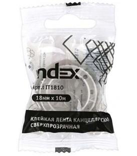 Клейкая лента канцелярская Index 18 мм*10 м, сверхпрозрачная
