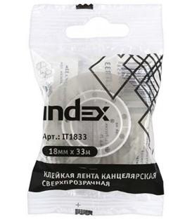Клейкая лента канцелярская Index 18 мм*33 м, сверхпрозрачная