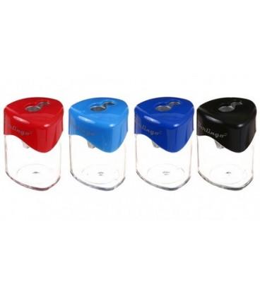 Точилка пластиковая Berlingo 2 отверстия, с контейнером, ассорти (цена за 1 шт.)