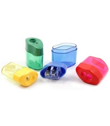 Точилка пластиковая inФормат 2 отверстия, с контейнером, ассорти (цена за 1 шт.)