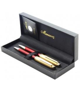 Ручка подарочная шариковая и карандаш Manzoni Napoli корпус красный с золотистой отделкой