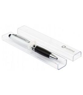 Ручка подарочная шариковая автоматическая одноразовая Architect корпус белый с черным, стержень синий