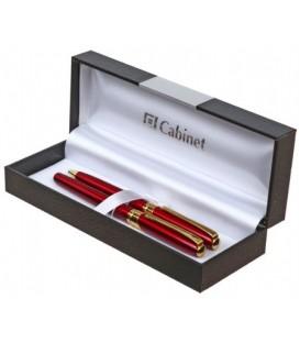 Набор ручек шариковой и роллера подарочных Cabinet Mayer корпус красный с золотистым