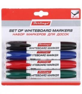 Набор маркеров для вайтбордов Berlingo 4 цвета (красный, зеленый, черный, синий)
