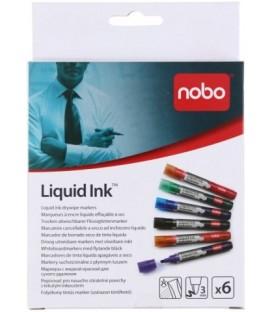 Набор маркеров для вайтбордов Nobo Liquid Ink 6 цветов
