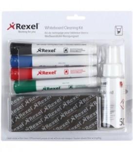 Набор маркеров для вайтбордов Rexel со стирателем и спреем 4 цвета
