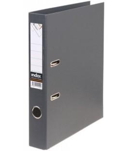 Папка-регистратор Index с двусторонним ПВХ-покрытием корешок 50 мм, серый