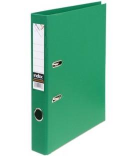 Папка-регистратор Index с двусторонним ПВХ-покрытием корешок 50 мм, зеленый