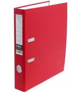 Папка-регистратор Index с односторонним ПВХ-покрытием корешок 50 мм, разобранный, красный