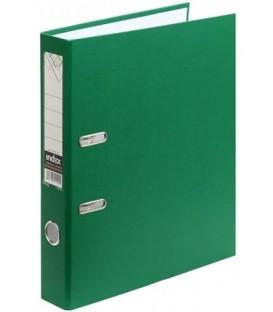 Папка-регистратор Index с односторонним ПВХ-покрытием корешок 50 мм, разобранный, зеленый