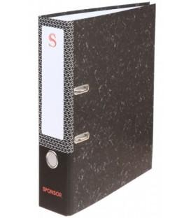 Папка-регистратор Sponsor «под мрамор» корешок 70 мм, черный