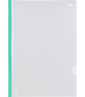 Папка пластиковая с клипом Economix толщина пластика 0,18 мм, прозрачная с зеленым клипом